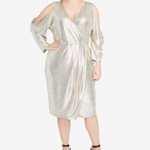 RACHEL Rachel Roy plus size gold metallic dress